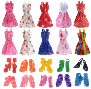 10 Pack Barbie Doll Clothes with 10 Pairs Doll Shoes