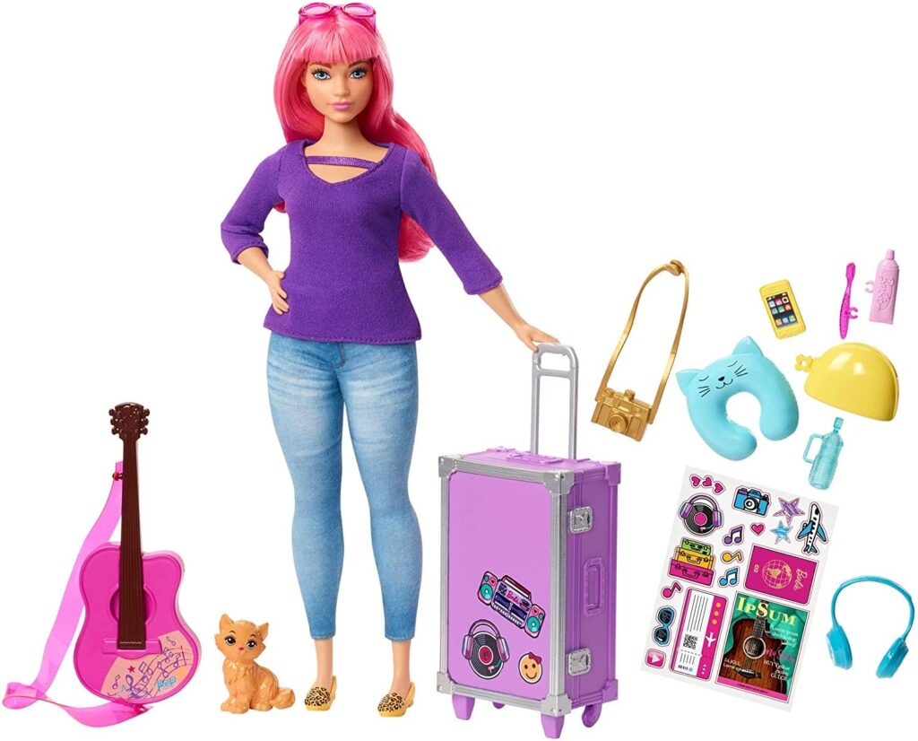 Barbie Daisy Doll, Pink Hair, Curvy, with Kitten
