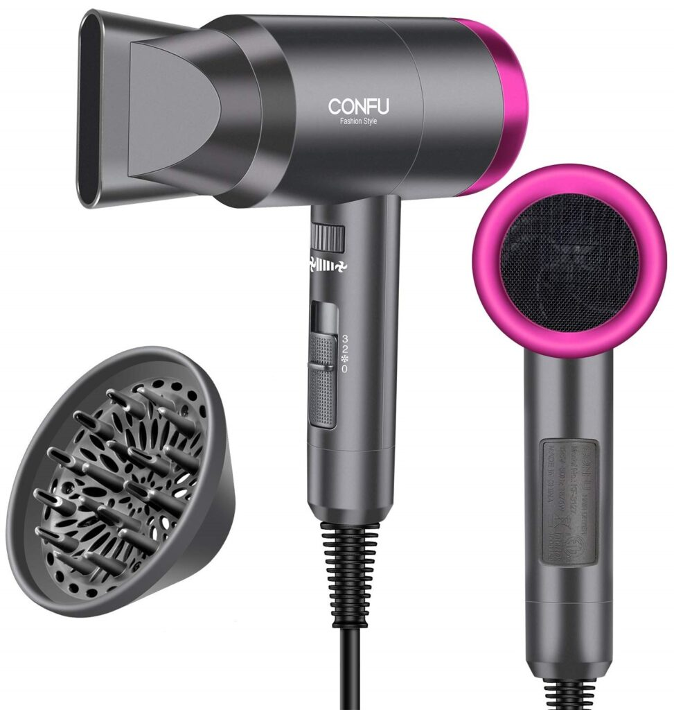 CONFU 1600W & 3 Heat Settings Lightweight Ionic Hair Blow Dryer for Travel & Home