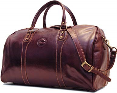 Cenzo Vecchio Brown Italian Leather Travel Bag