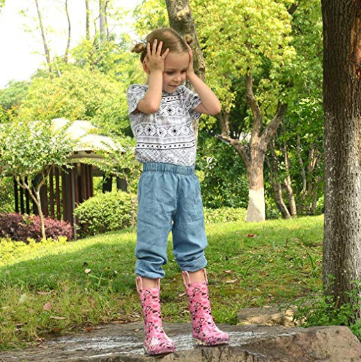 Landchief Kids Light Up Rain Boots