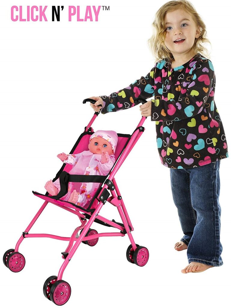 Precious Toys Hot Pink Umbrella Doll Stroller, Black Handles, and Hot Pink Frame