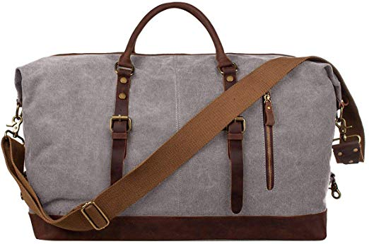 S-ZONE Oversized Canvas Leather Travel Shoulder Bag