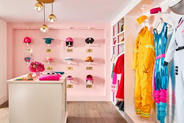 The closet is like a walk down Barbie lane